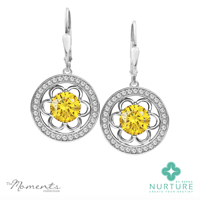 Blossom halo earrings_NurtureByReena_ReenaAhluwalia_Yellow lab grown diamonds