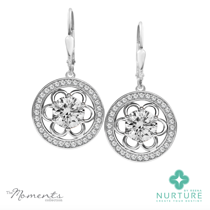 Blossom halo earrings_NurtureByReena_ReenaAhluwalia_Colorless lab grown diamonds