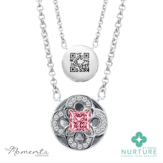 Cardamine pendant_NurtureByreena_ReenaAhluwalia_Pink lab-grown diamonds