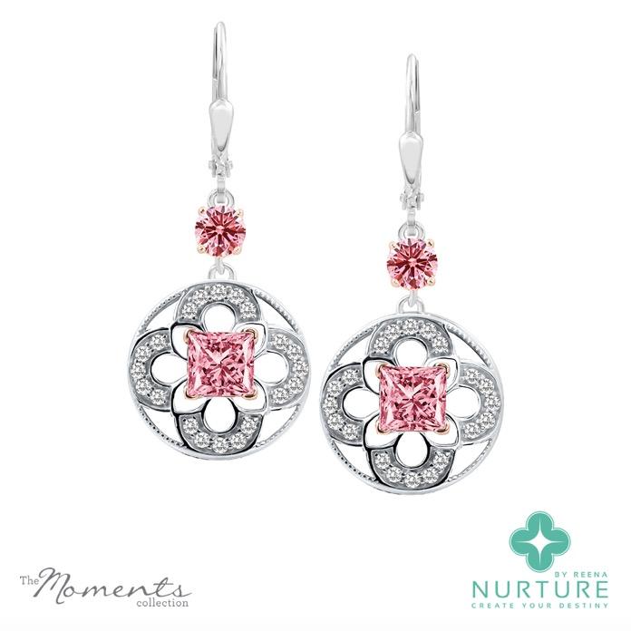 Cardamine earrings_NurtureByReena_ReenaAhluwalia_Pink lab grown diamonds