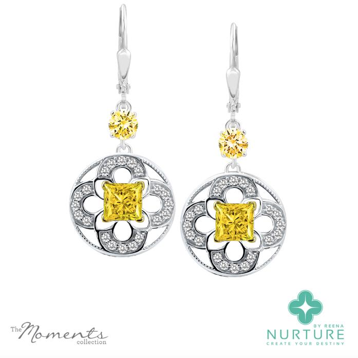 Cardamine earrings_NurtureByreena_ReenaAhluwalia_Yellow lab grown diamonds