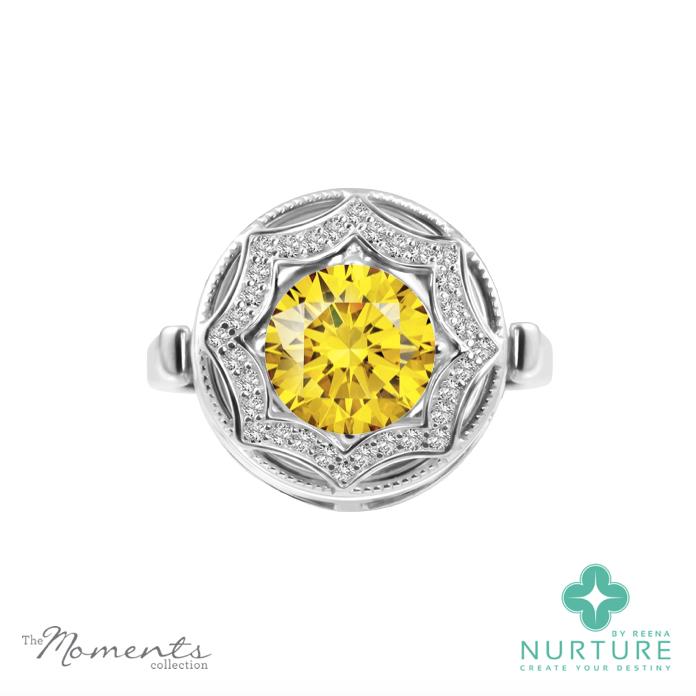 Celsetial Star ring_NurtureByreena_ReenaAhluwalia_Yellow lab-grown diamonds