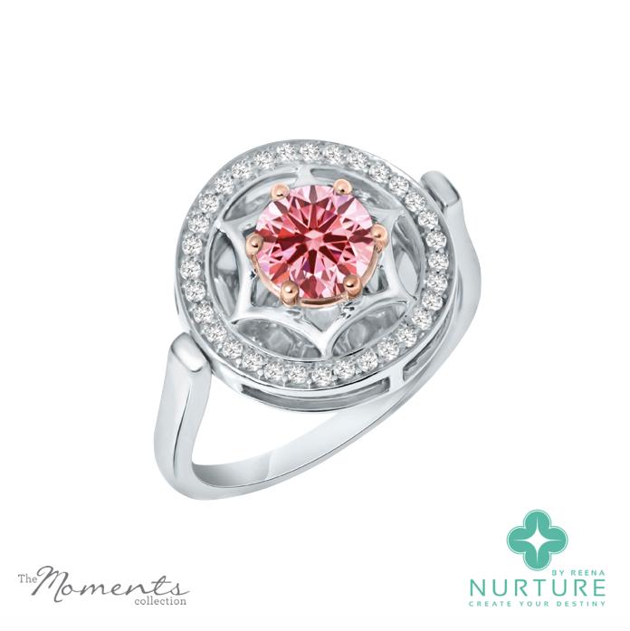 Starlight Halo ring_NurtureByreena_ReenaAhluwalia_Pink lab-grown diamonds