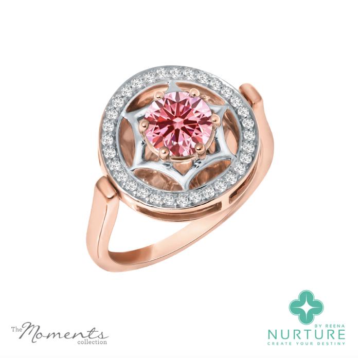 Starlight halo ring_NurtureByreena_ReenaAhluwalia_Pink lab-grown diamonds_rose gold