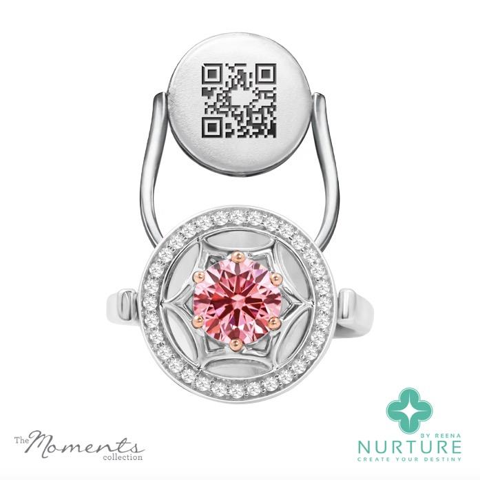 Starlight Halo ring_NurtureByreena_ReenaAhluwalia_Pink lab-grown diamonds1