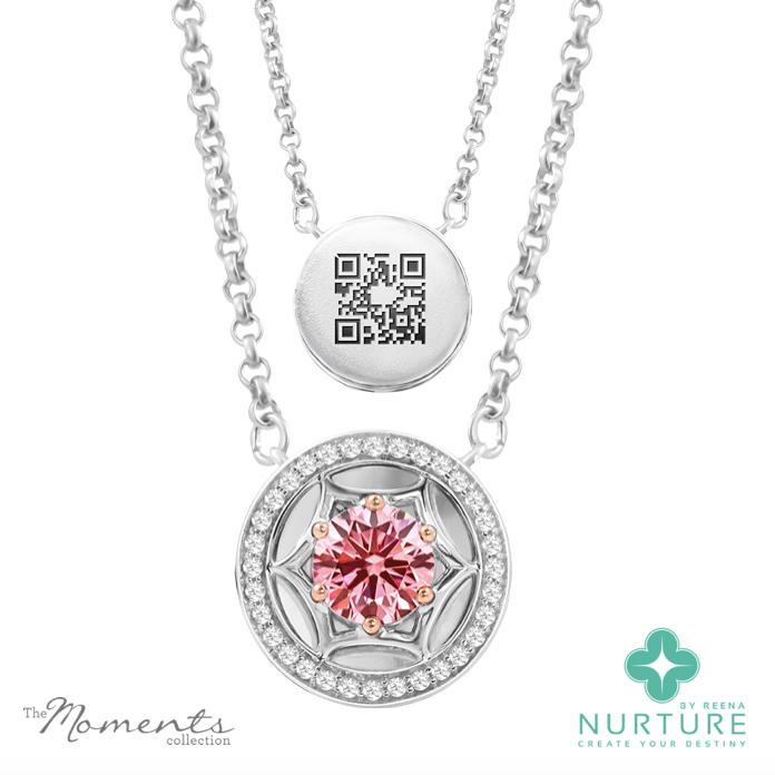 Starlight Halo pendant_NurtureByreena_ReenaAhluwalia_Pink lab-grown diamonds