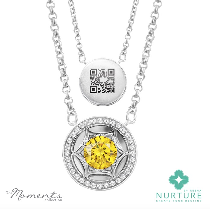 Starlight Halo pendant_NurtureByreena_ReenaAhluwalia_Yellow lab-grown diamonds