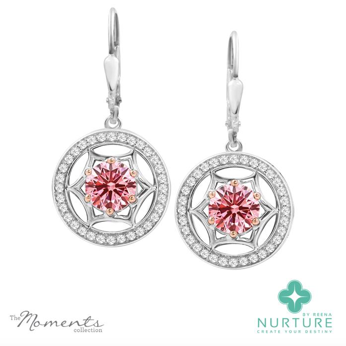 Starlight Halo earrings_NurtureByreena_ReenaAhluwalia_Pink lab-grown diamonds