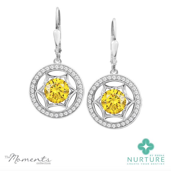 Starlight halo earrings_NurtureByreena_ReenaAhluwalia_Yellow lab-grown diamonds