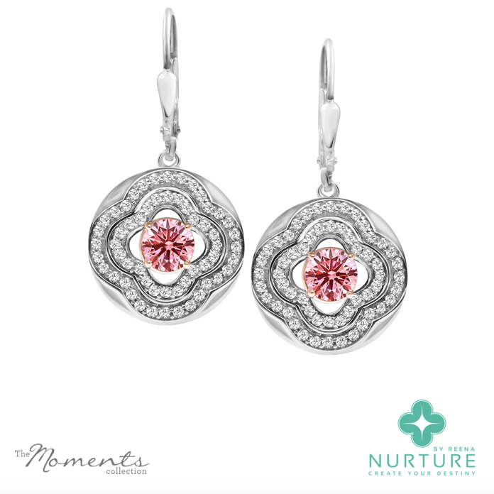 Primrose earrings_NurtureByreena_ReenaAhluwalia_Pink lab-grown diamonds