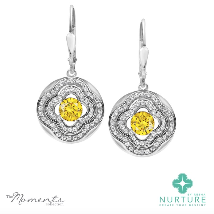 Primrose earrings_NurtureByreena_ReenaAhluwalia_Yellow lab-grown diamonds