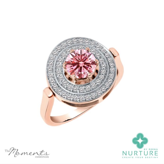 Passion Double Halo ring_NurtureByreena_ReenaAhluwalia_Pink lab-grown diamonds_rose gold