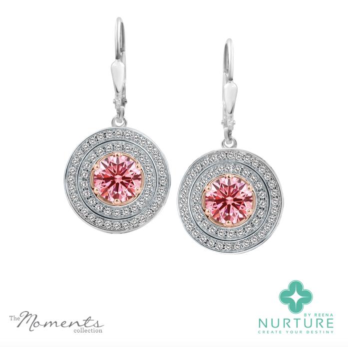 Passion Double Halo earrings_NurtureByreena_ReenaAhluwalia_Pink lab-grown diamonds