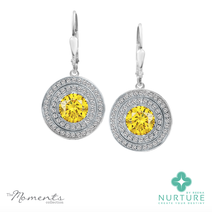 Passion Double Halo earrings_NurtureByreena_ReenaAhluwalia_Yellow lab-grown diamonds
