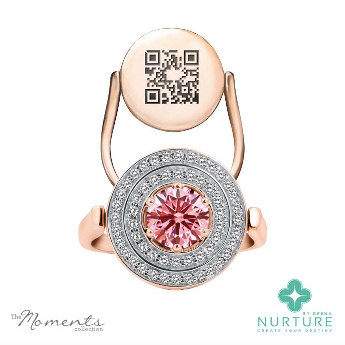 Passion Double Halo ring_NurtureByreena_ReenaAhluwalia_Pink lab-grown diamonds_Rose gold 1