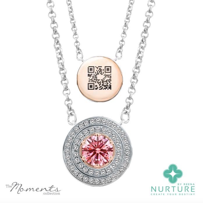 Passion Double Halo pendant_NurtureByreena_ReenaAhluwalia_Pink lab-grown diamonds