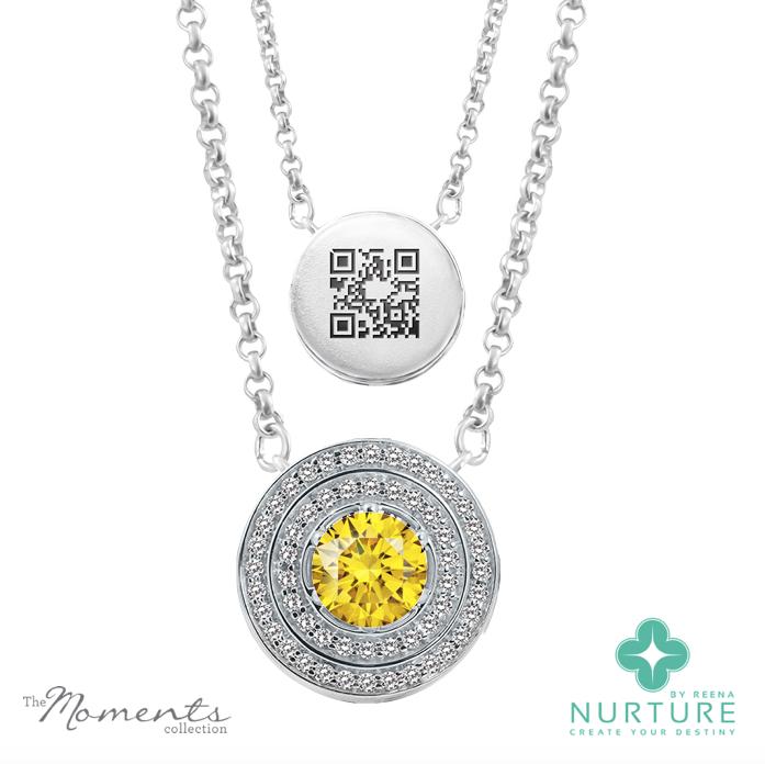 Passion Double halo pendant_NurtureByreena_ReenaAhluwalia_Yellow lab-grown diamonds