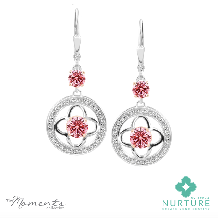 Clover halo earrings_NurtureByreena_ReenaAhluwalia_Pink lab-grown diamonds