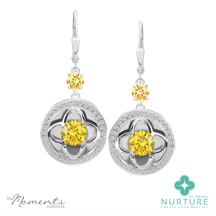 Clover halo earrings_NurtureByreena_ReenaAhluwalia_Yellow lab-grown diamonds