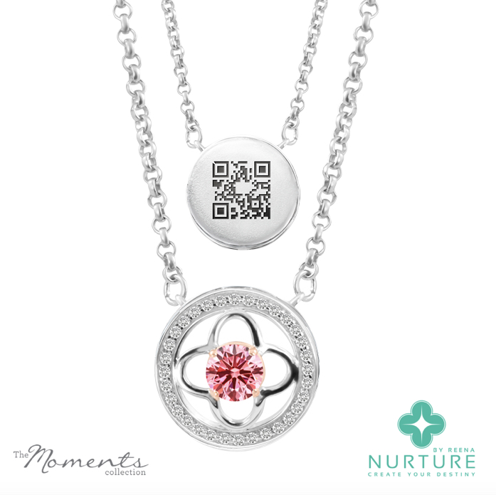 Clover halo pendant_NurtureByreena_ReenaAhluwalia_Pink lab-grown diamonds