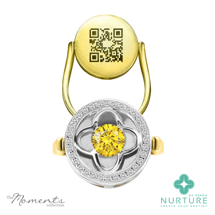 Clover Halo ring_NurtureByreena_ReenaAhluwalia_Yellow lab-grown diamonds