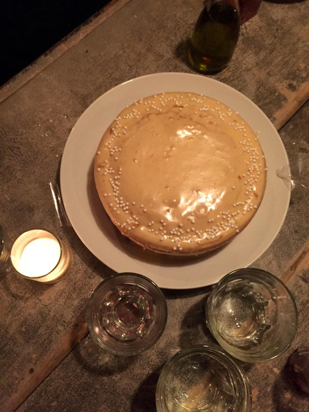 vanilla cake with apricot glaze