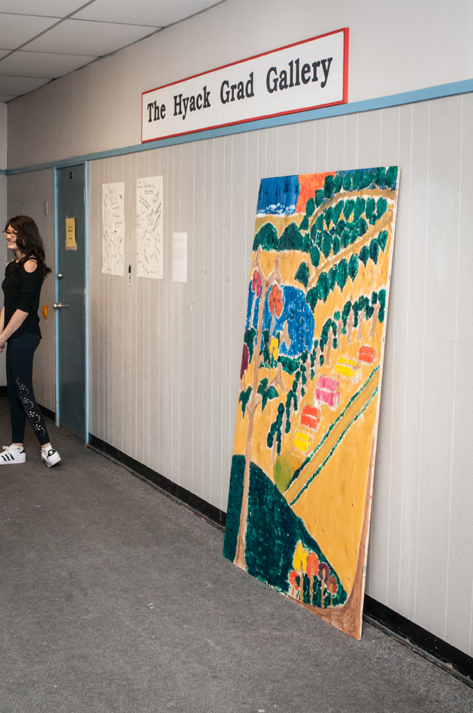 Large painting, to be installed at the New Westminster Secondary School garden, on display for the  Site Stories  exhibition. Photo: Rachel Topham.