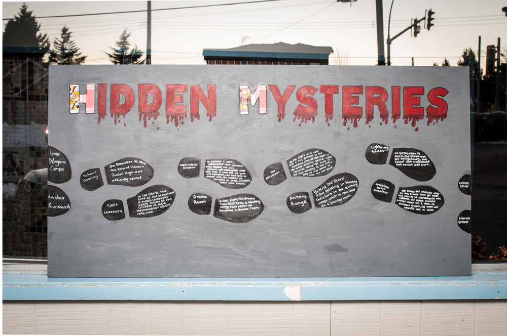 Hidden Mysteries  installed as part of  Site Stories  exhibition. Photo: Rachel Topham.