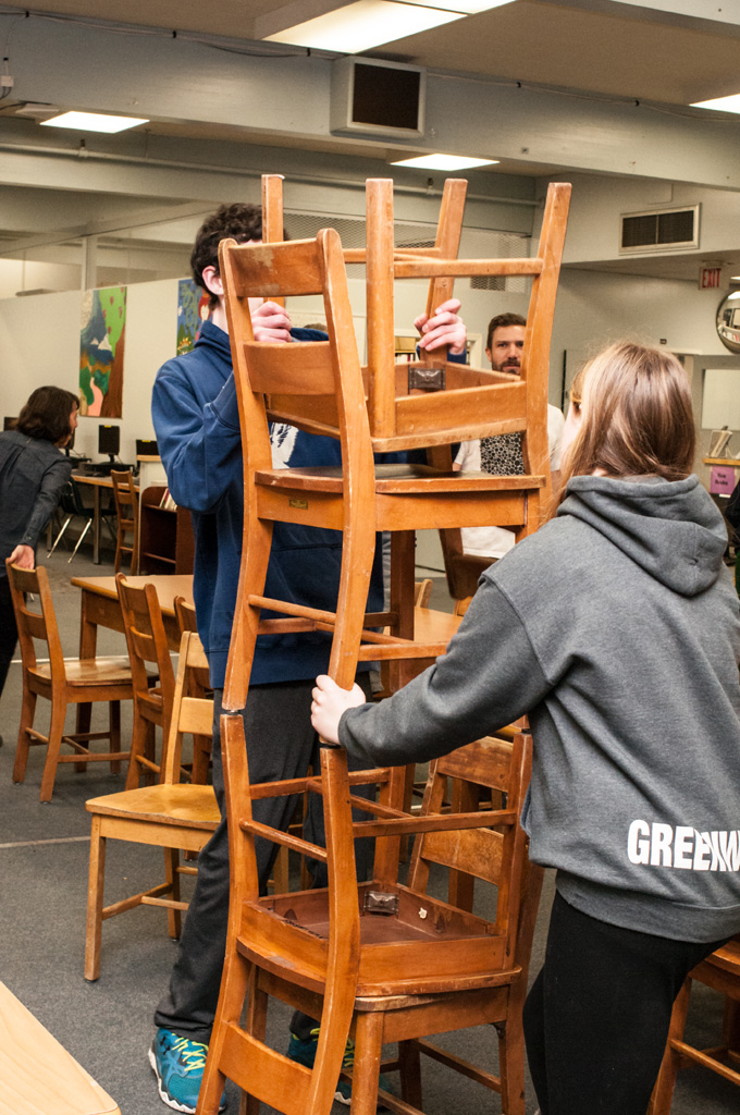 Re-creating the readymade library chair sculpture for the  Site Stories  exhibition. Photo: Rachel Topham.