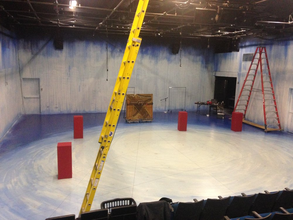 Our stage, with plinths, harp, and ladders. Painted ice blue for Artist Rep's  Magellanica .