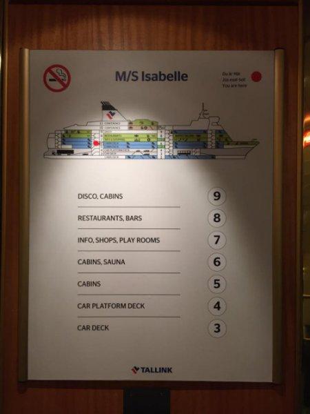 Isabelle的平面圖!正如大家所見,最底的幾層是供大型車輪停泊,然後就是客艙及休憩設施