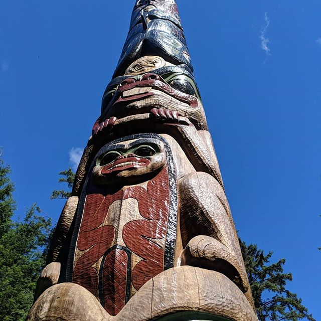 Photos from Sitka, our last Alaskan stop on #plunkhaushoneymoon . We walked the Totem Walk at the Sitka National Historical Park and are pretty good now at identifying #Tlingit totem animals. Can you find a Raven? Two types of salmon? A wood worm? Most of these are replicas and all of them are so beautiful . We also went to the #AlaskaRaptorCenter to learn about birb rehab. We met Spirit, a juvenile bald eagle who was hit by a car and can never be released. We also watched some baldies relearning how to fly and fish and met a little Hedwig who has a permanently broken wing and is now used for educational purposes