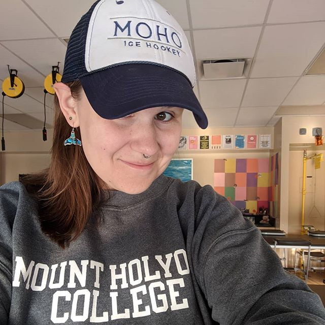 Maybe I'm breaking dress code but I'm super proud to represent Moho and Moho ice hockey today for faculty/staff college day! #mtholyokeforevershallbe #mountholyokecollege