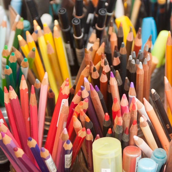 Just a sampling of the colored pencils on Ana Reinert's actual well-appointed desk.