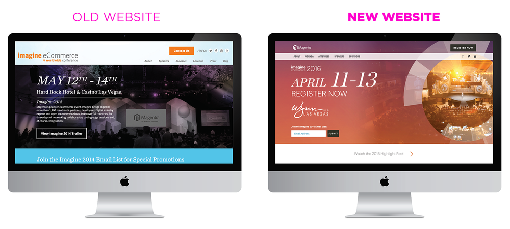 New event microsite featured a looping video hero and tied in the theme colors and design elements of the most recent event to promote the upcoming year's event.