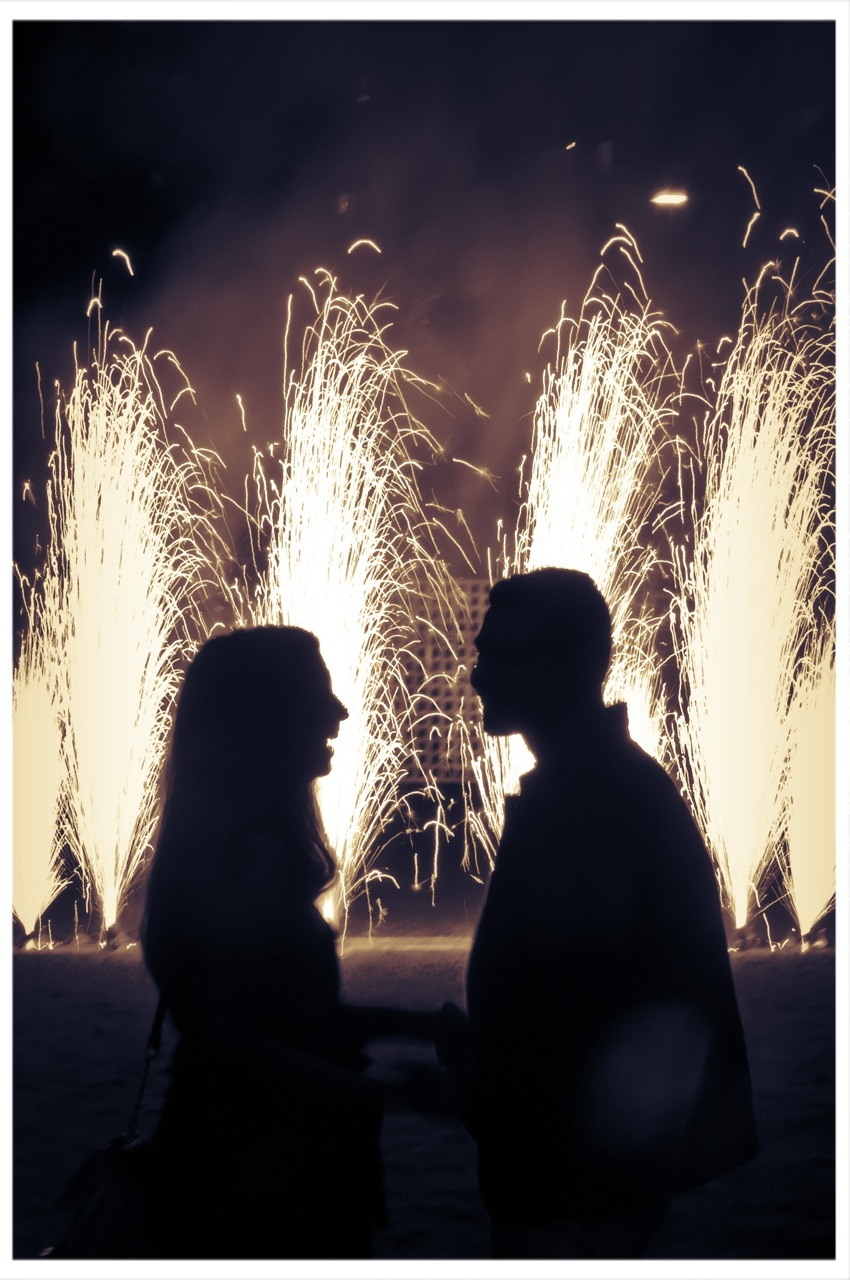 Blaso Pyrotechnics Close Proximity Fireworks used for a marriage proposal creating a stunning wall of silver sparks.
