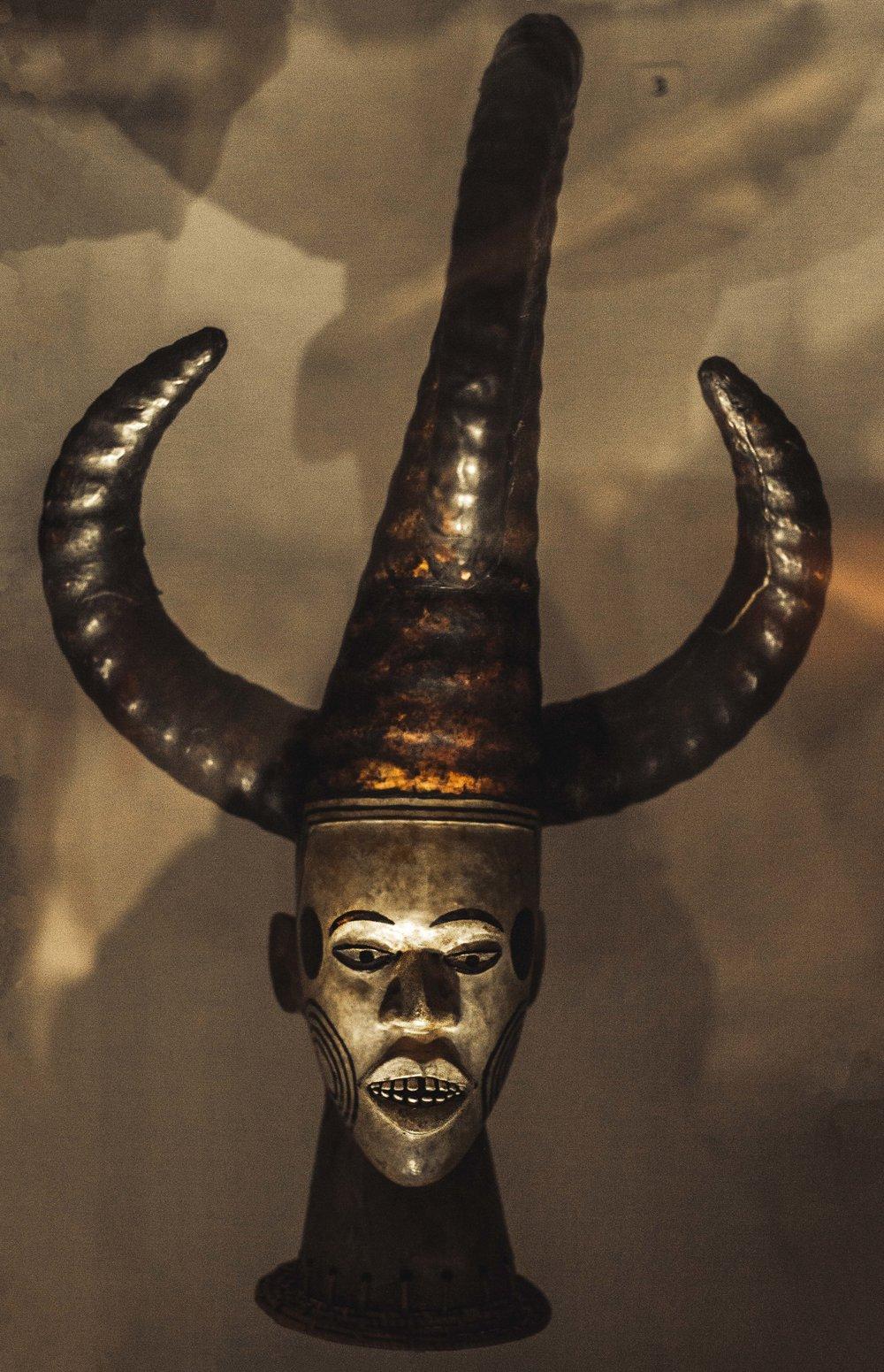 Horned African mask
