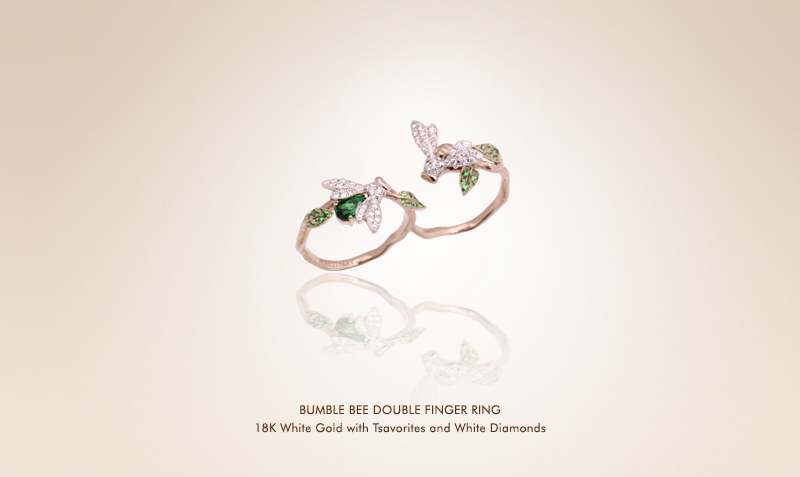 Green Bumble Bee Double Finger Ring.jpg