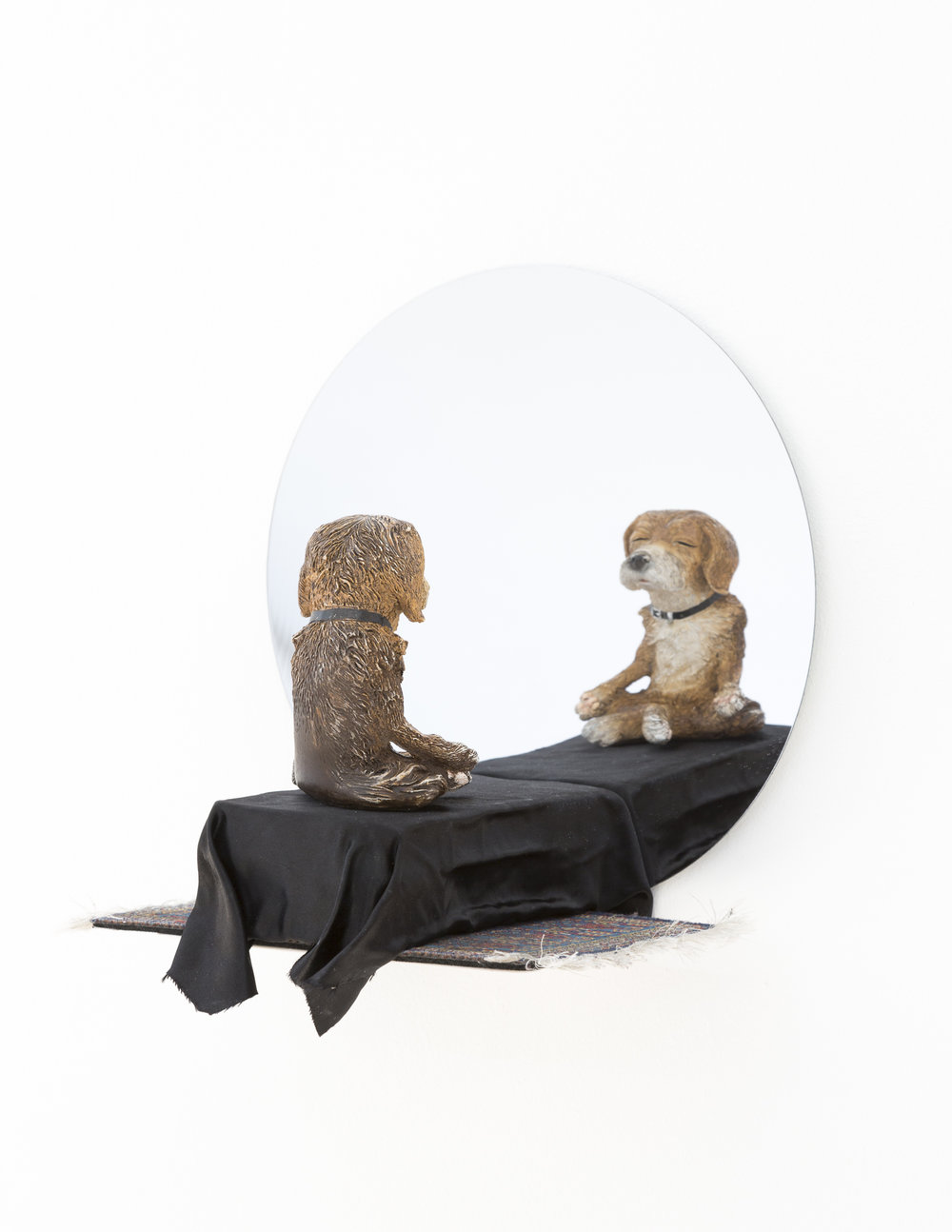 In the Realm of the Senses; stone dog, satin, cardboard, spray paint, mouse pad, mirror, 2016