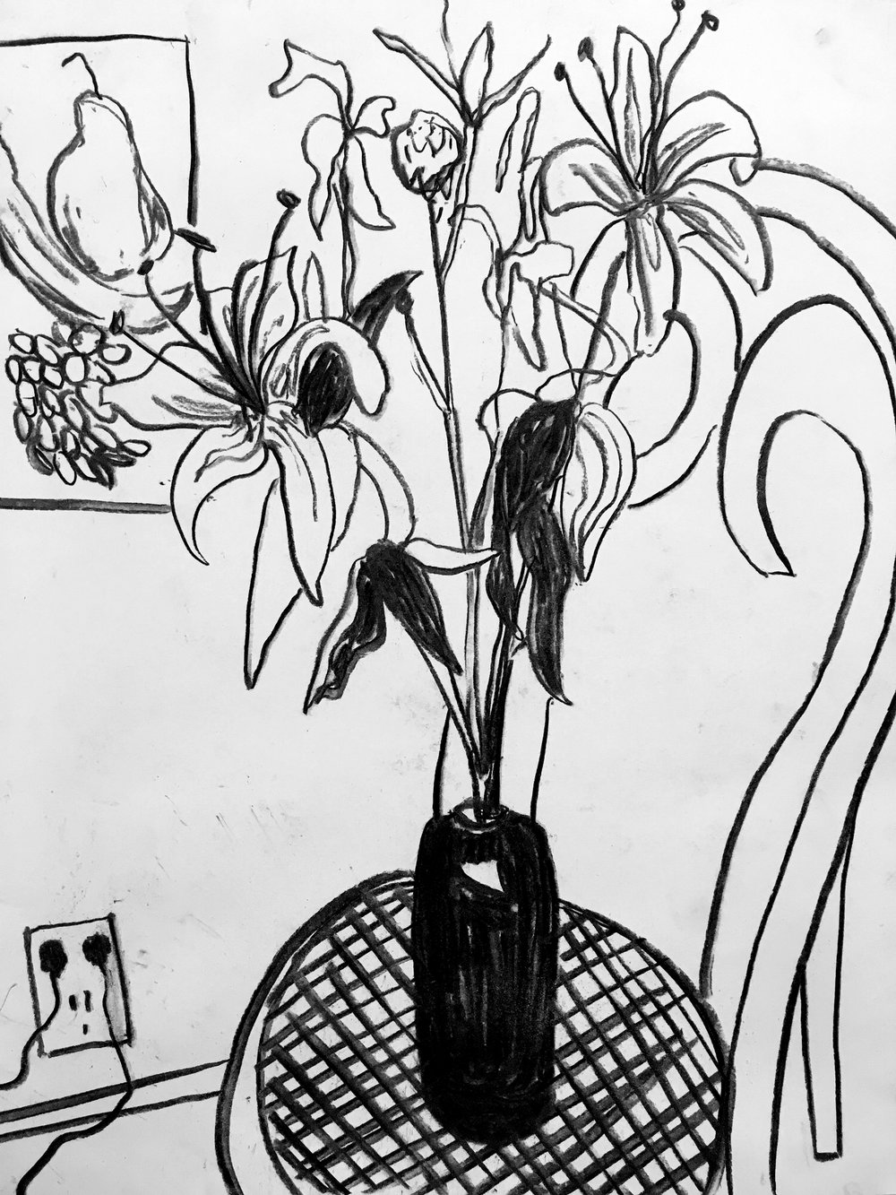 "Lillies in Bottle on Chair, charcoal on paper, 14"" x 17"", 2015"