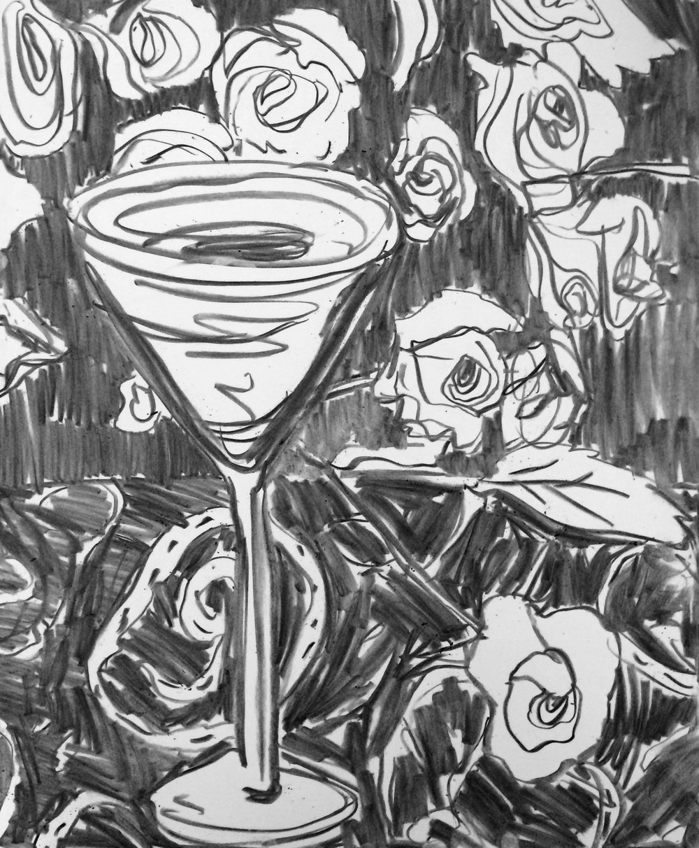 "Red Rose Martini, charcoal on paper, 11"" x 14"", 2015"