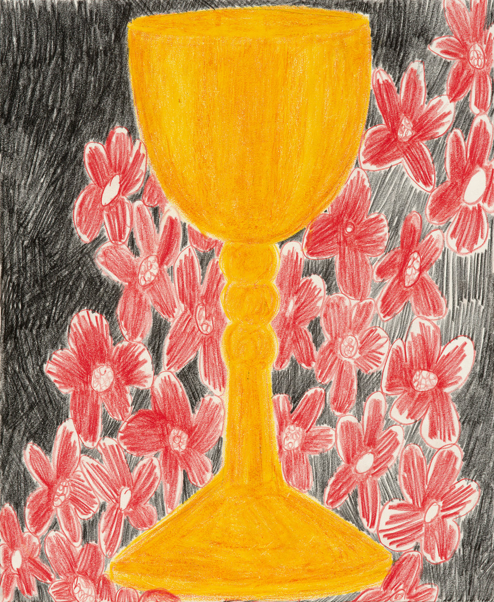 "Chalice and Red Flowers, colored pencil on paper, 14"" x 17"", 2017"