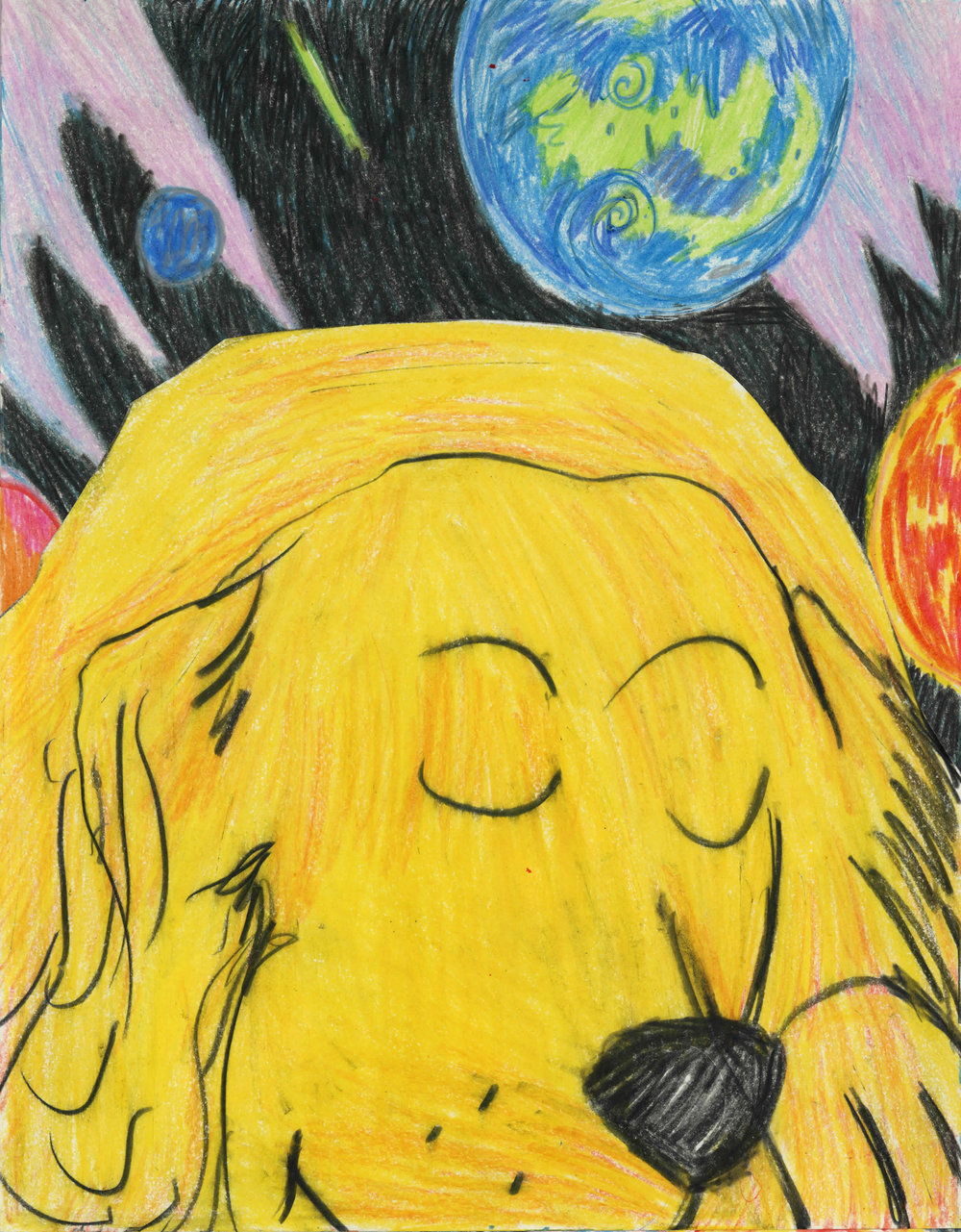 """The Dog Asleep in Space, color pencil and collage on paper, 11"""" x 14"""", 2017"""