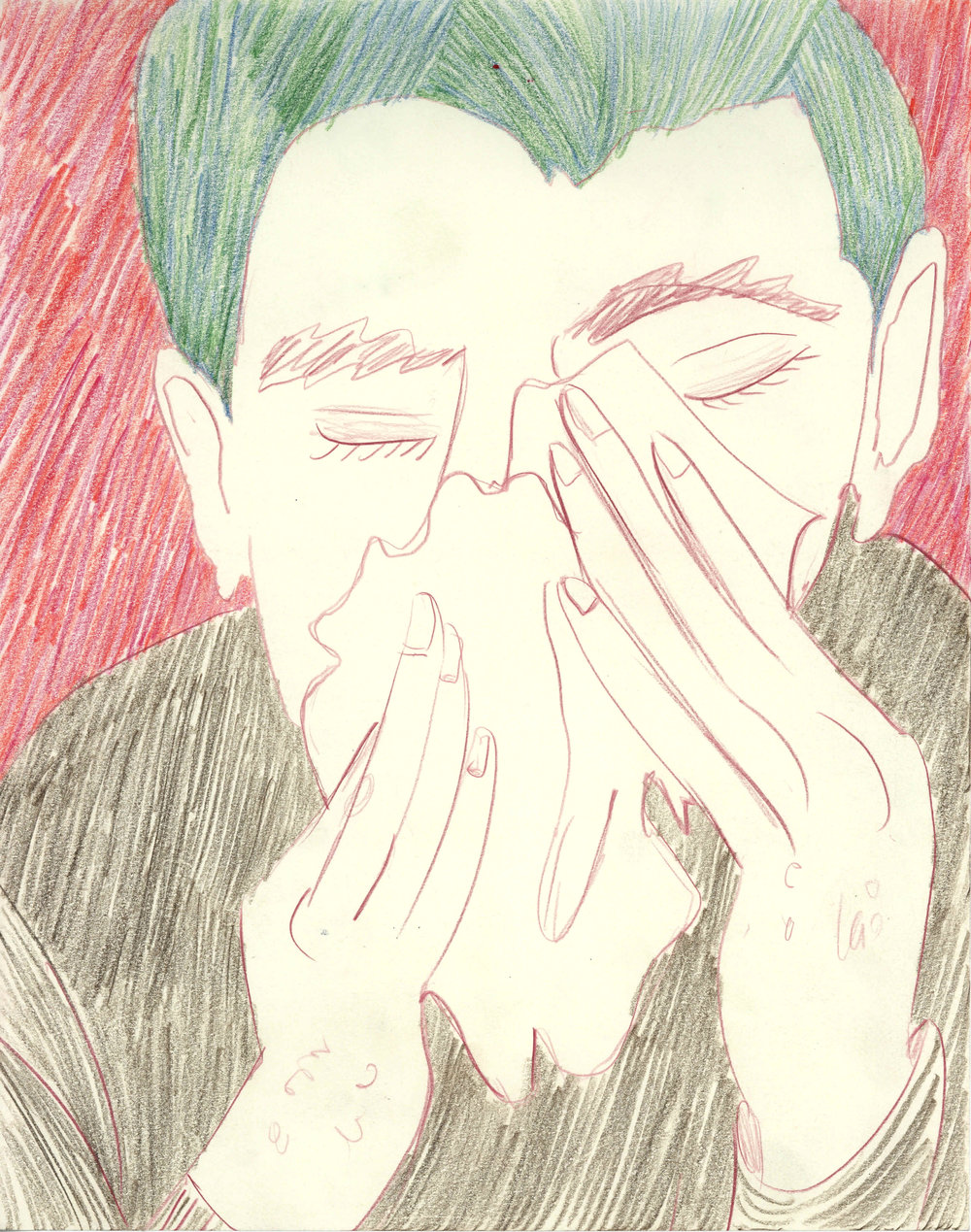 """The Sneeze, colored pencil on paper, 11"""" x 14"""", 2016"""