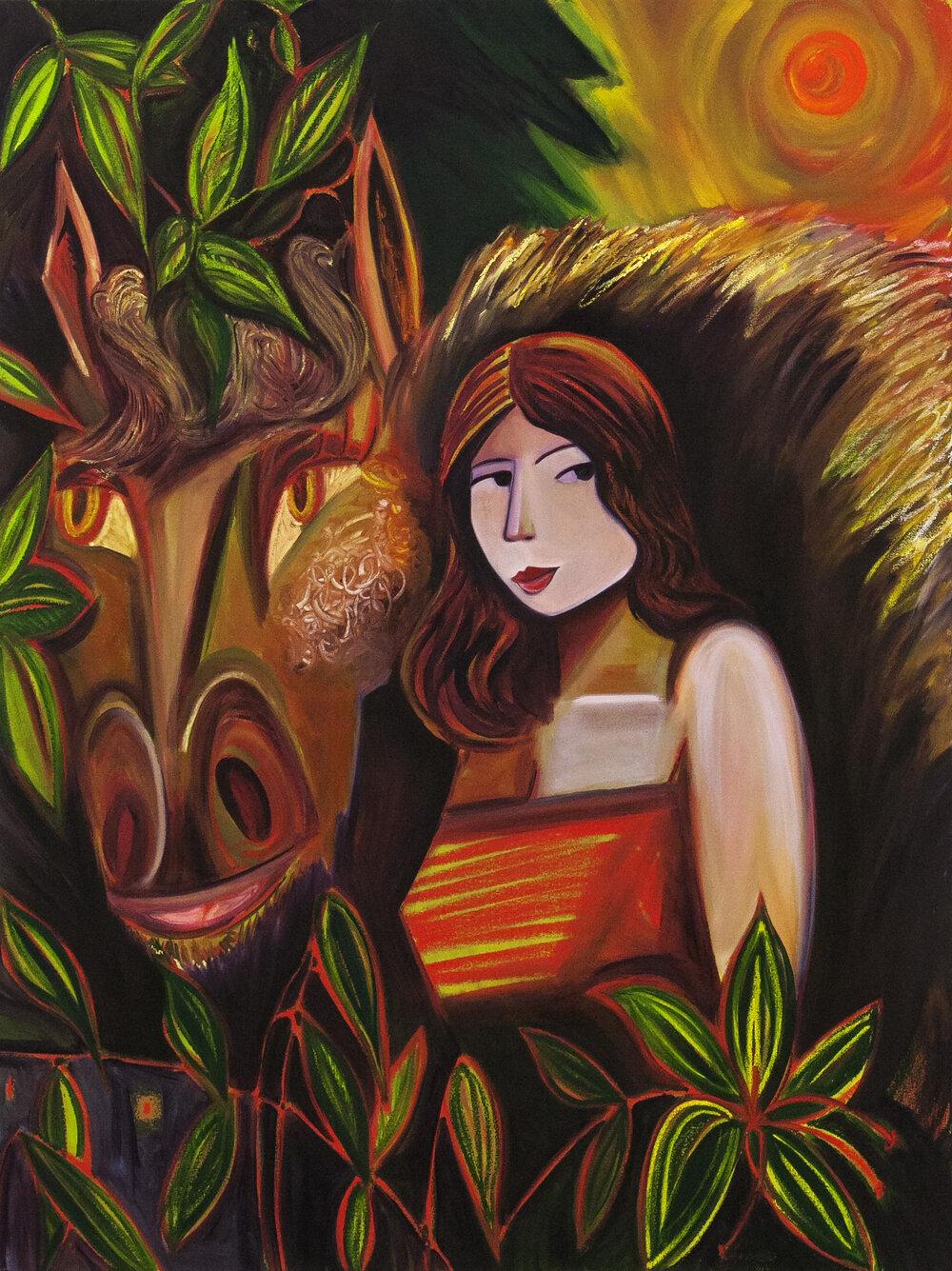 "The Sunset Rider,  oil on canvas, 48"" x 36"", 2019"