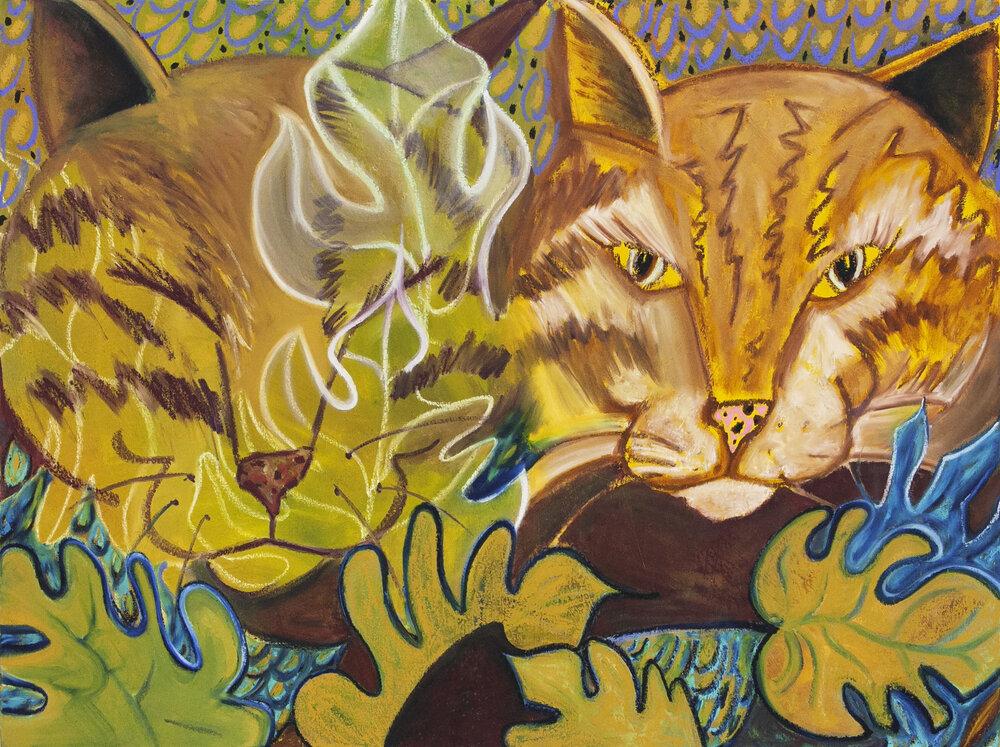 "Double Meeka (Blinking),  oil on canvas, 36"" x 48"", 2019"