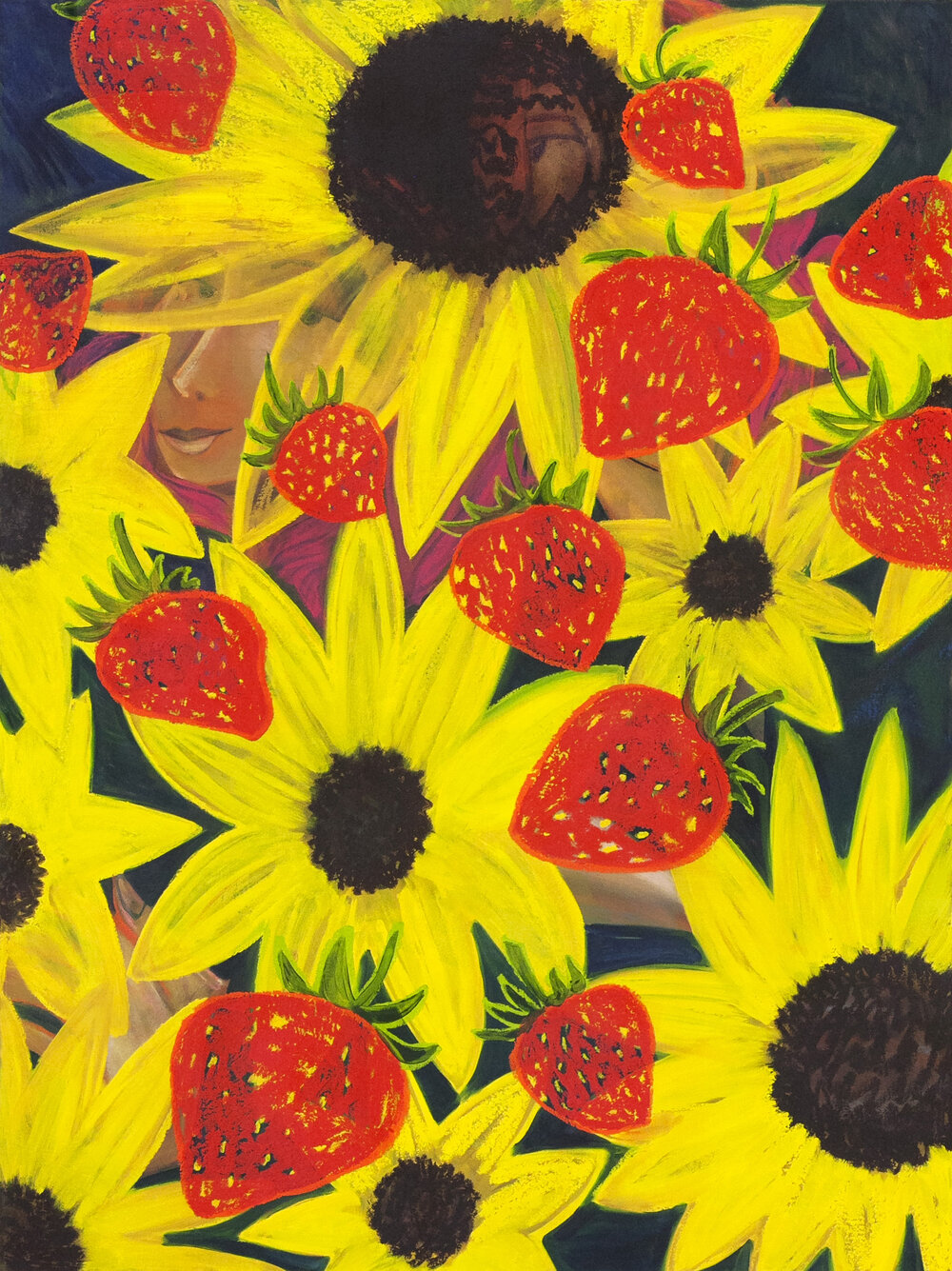 """Sunflowers and Strawberries,  oil on canvas, 48"""" x 36"""",  2019"""