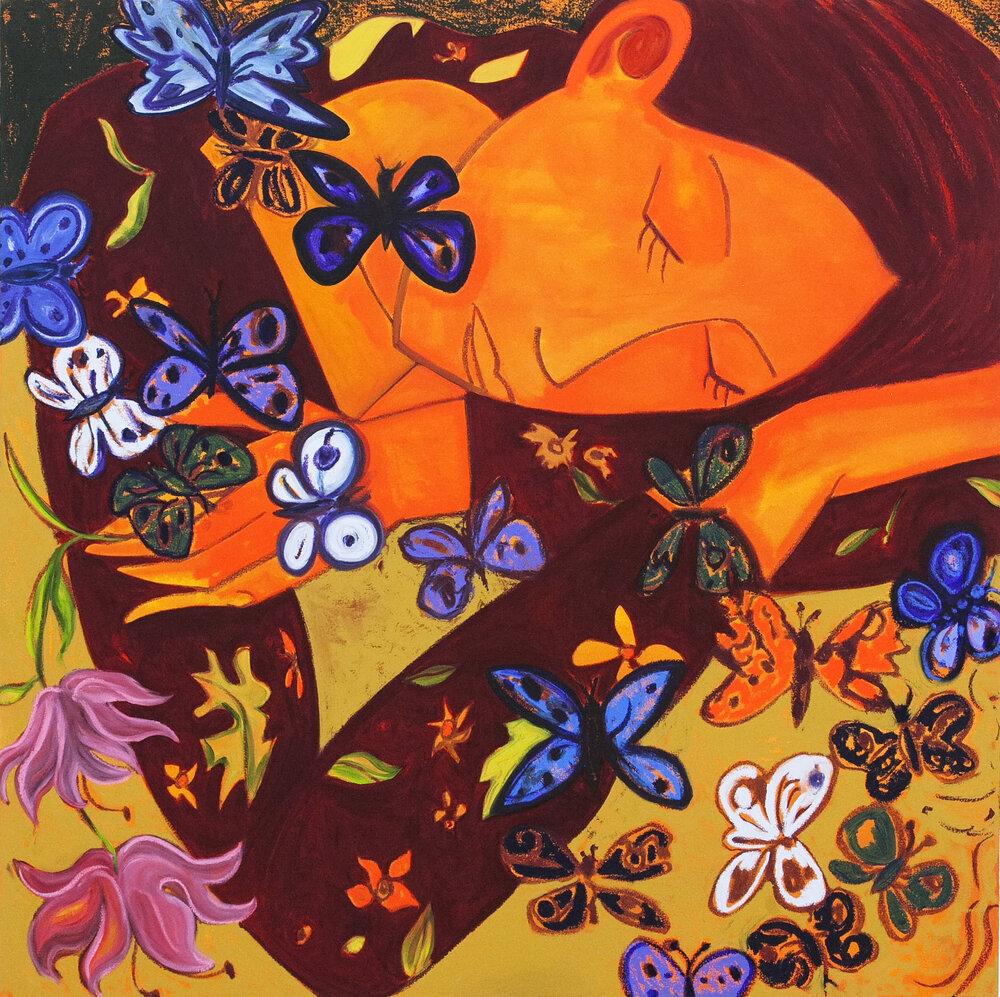 "Butterflies #2, oil on canvas, 48"" x 48"", 2019"