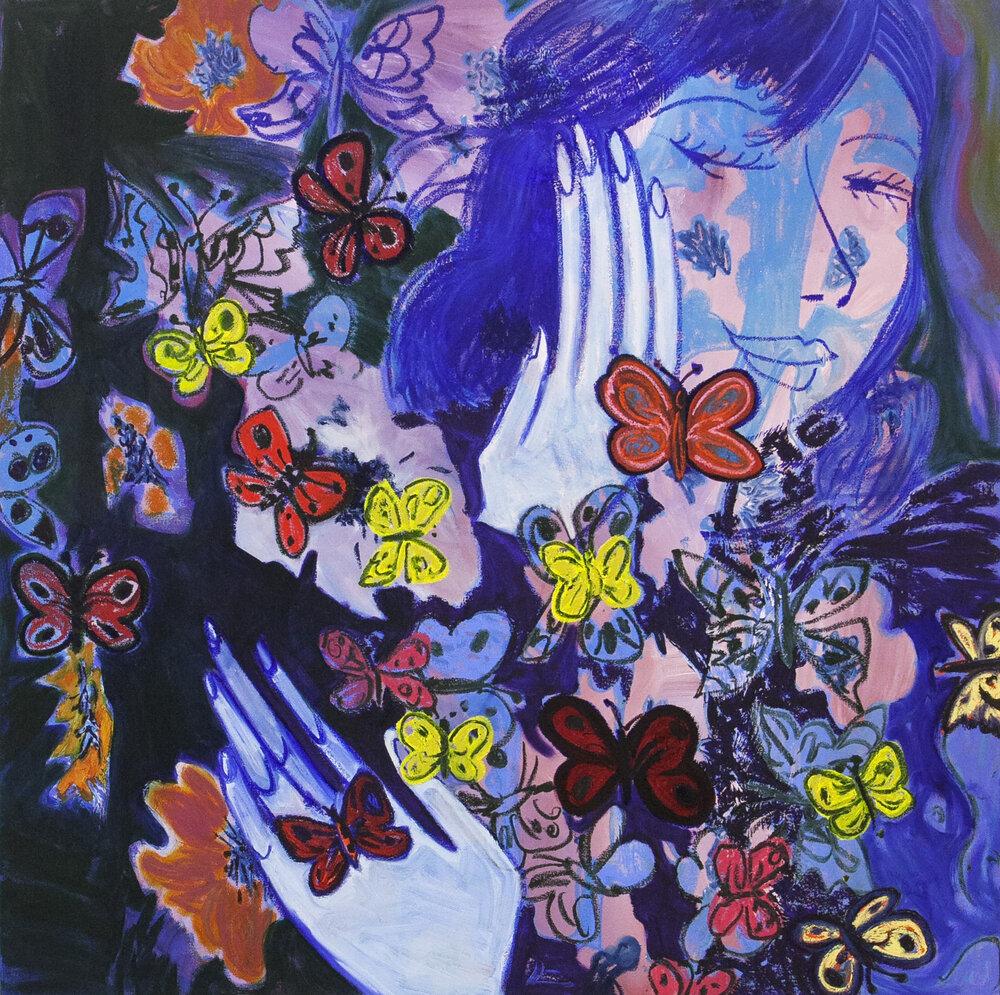 "Butterflies #1, oil on canvas, 48"" x 48"", 2019"