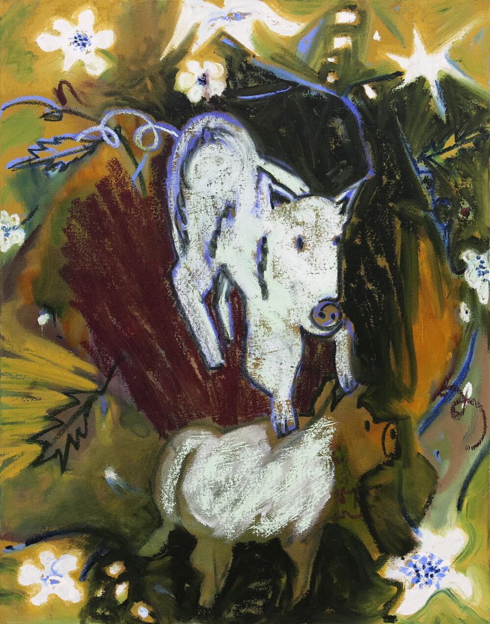 "Piggies, oil on canvas, 28"" x 22"", 2019"